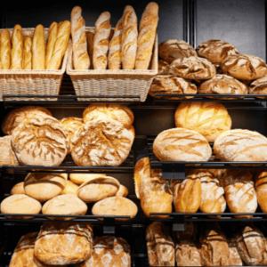 Cappuccino Bakery shelf of bread
